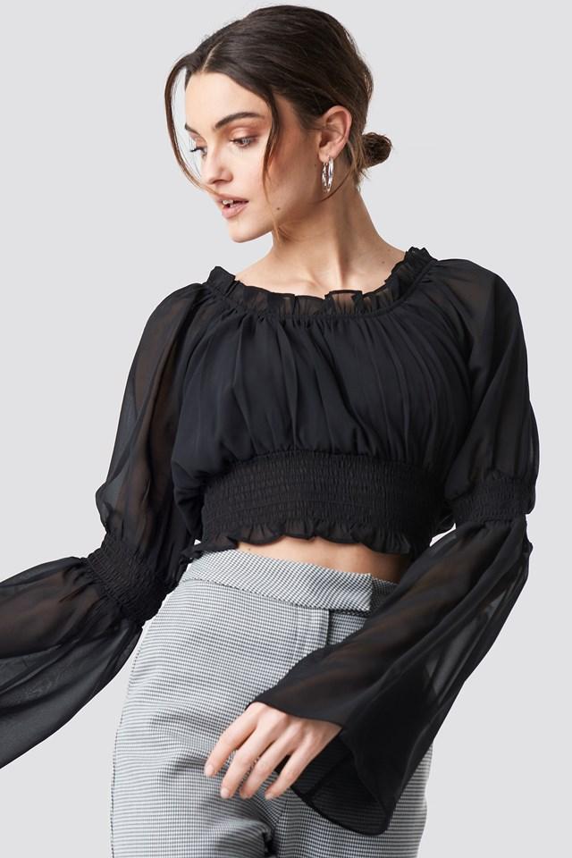 Wide Sleeve Crop Chiffon Top NA-KD.COM