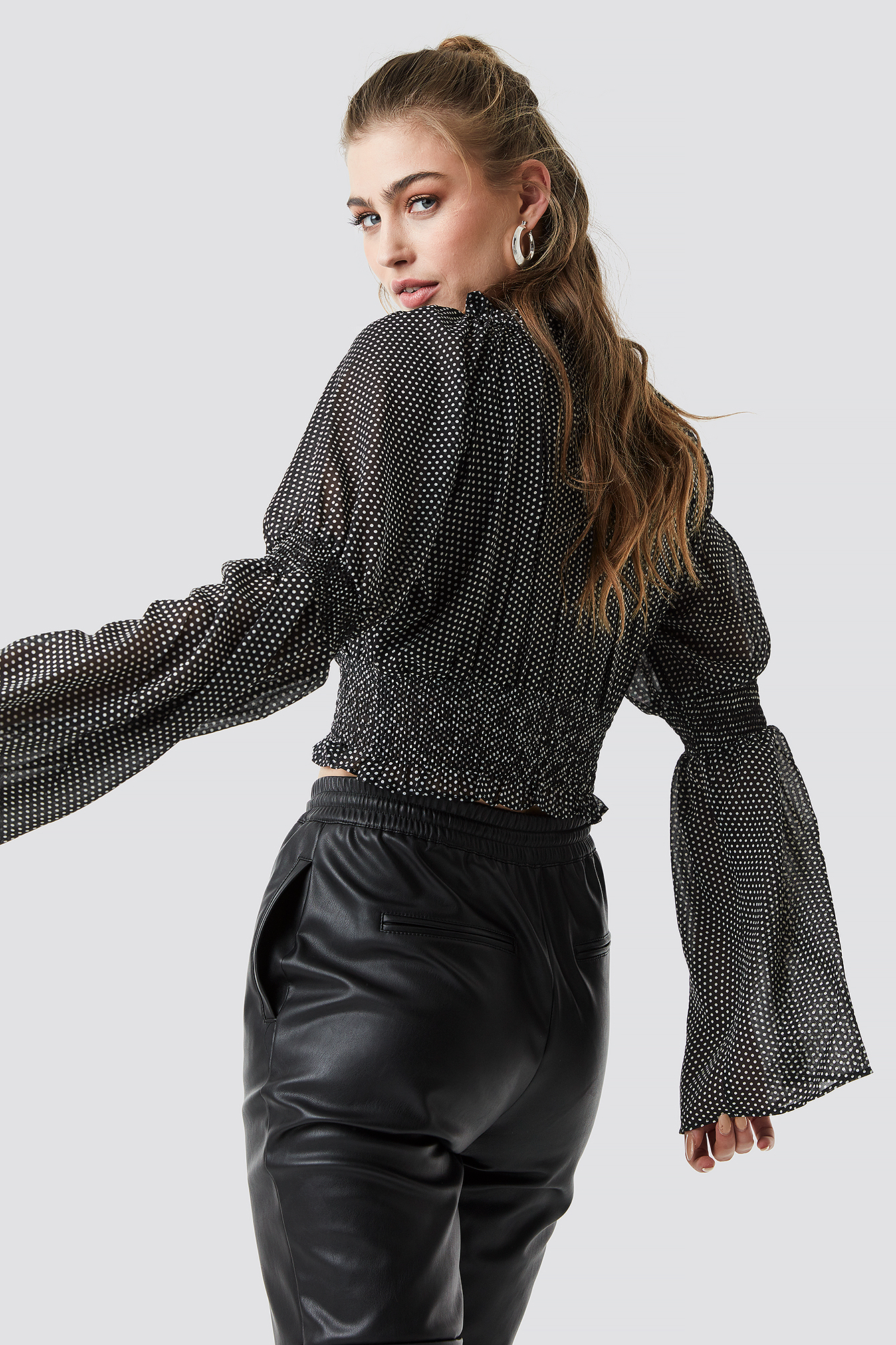 Wide Sleeve Crop Chiffon Top NA-KD.COM