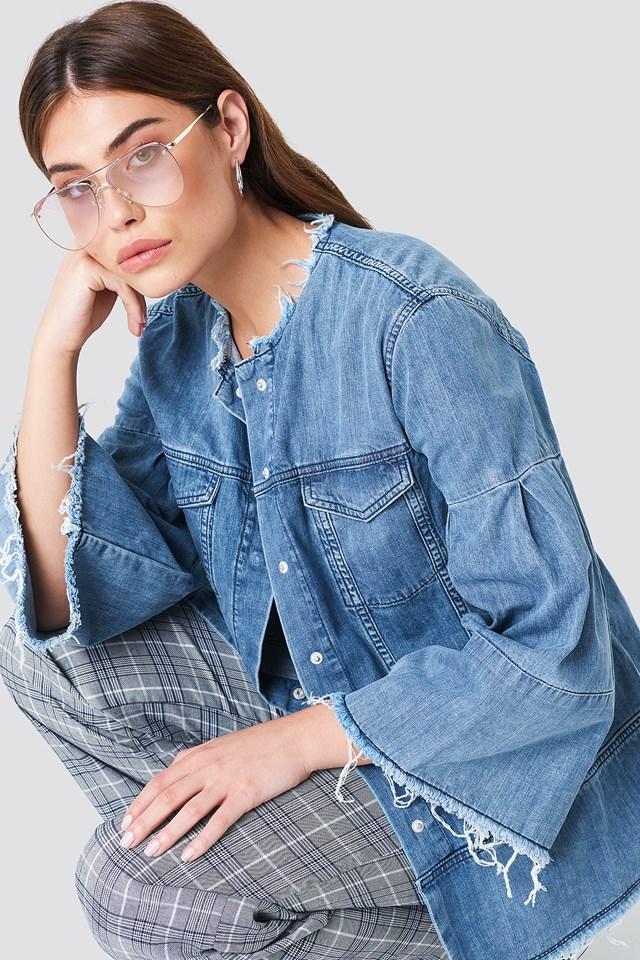 Wide Sleeve Denim Jacket Mid Blue
