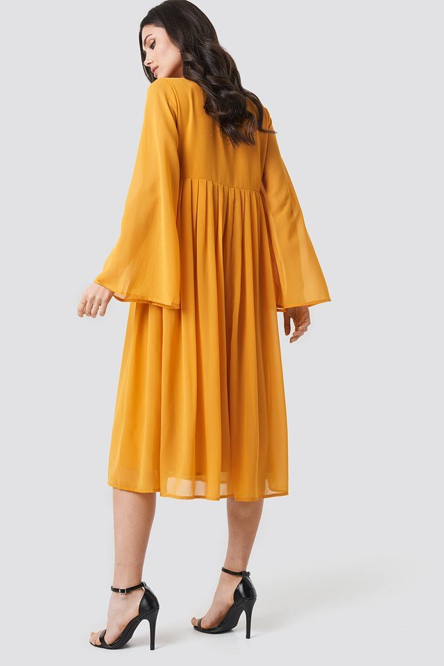 Wide Sleeve Flowy Chiffon Dress Mustard Yellow