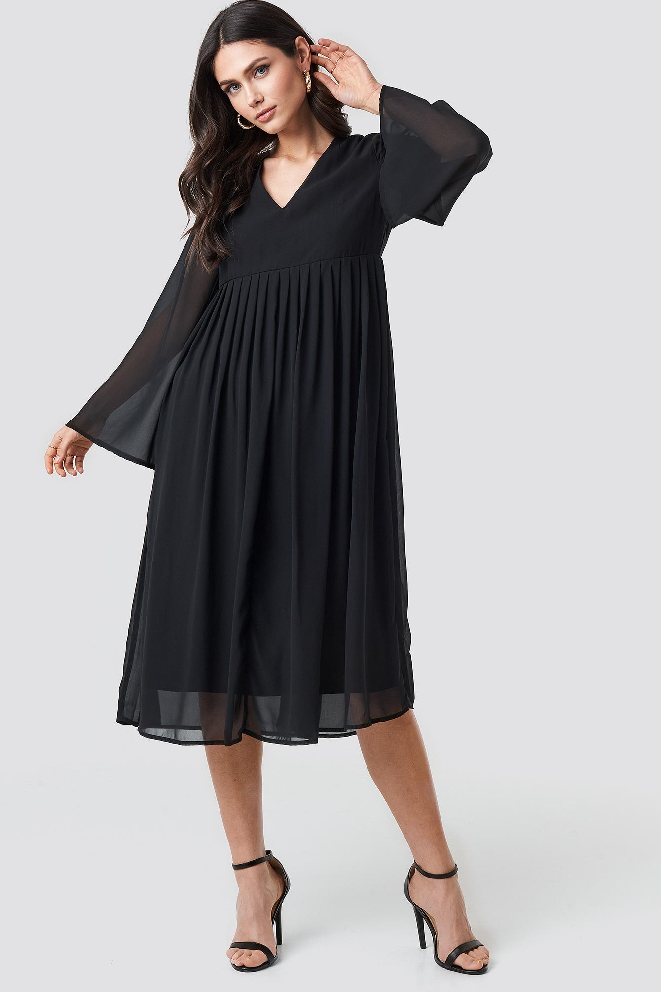 Wide Sleeve Flowy Chiffon Dress NA-KD.COM