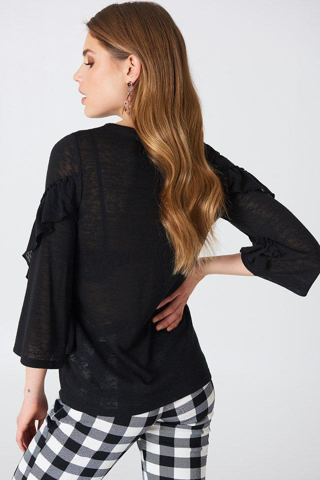 Wide Sleeve Frill Detail Top Black