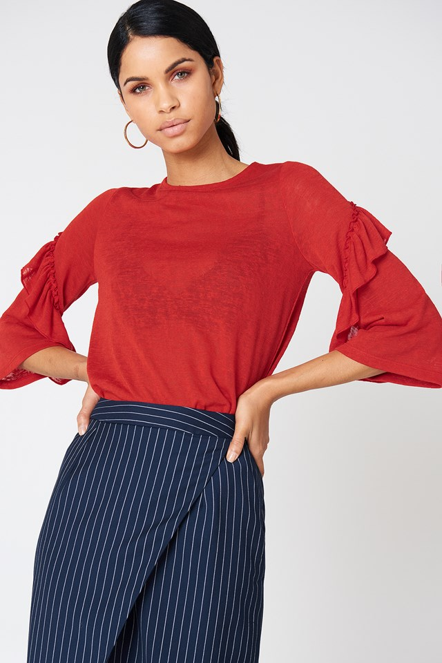 Wide Sleeve Frill Detail Top Red