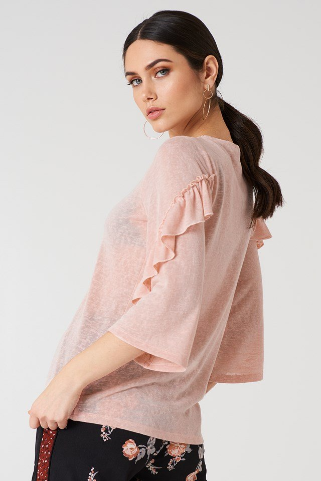 Wide Sleeve Frill Detail Top Dusty Pink