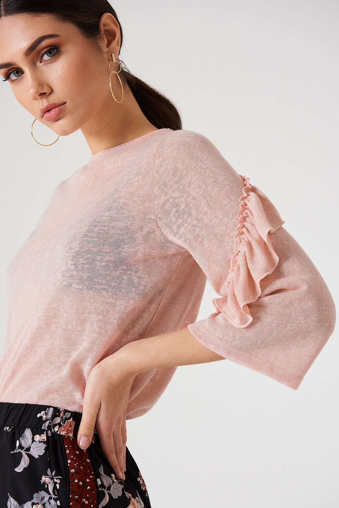 Wide Sleeve Frill Detail Top NA-KD.COM