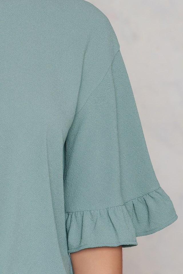 Wide Sleeve Frill Top Duck Green