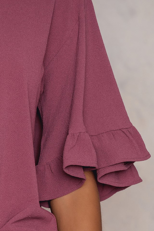 Wide Sleeve Frill Top Purple Rose