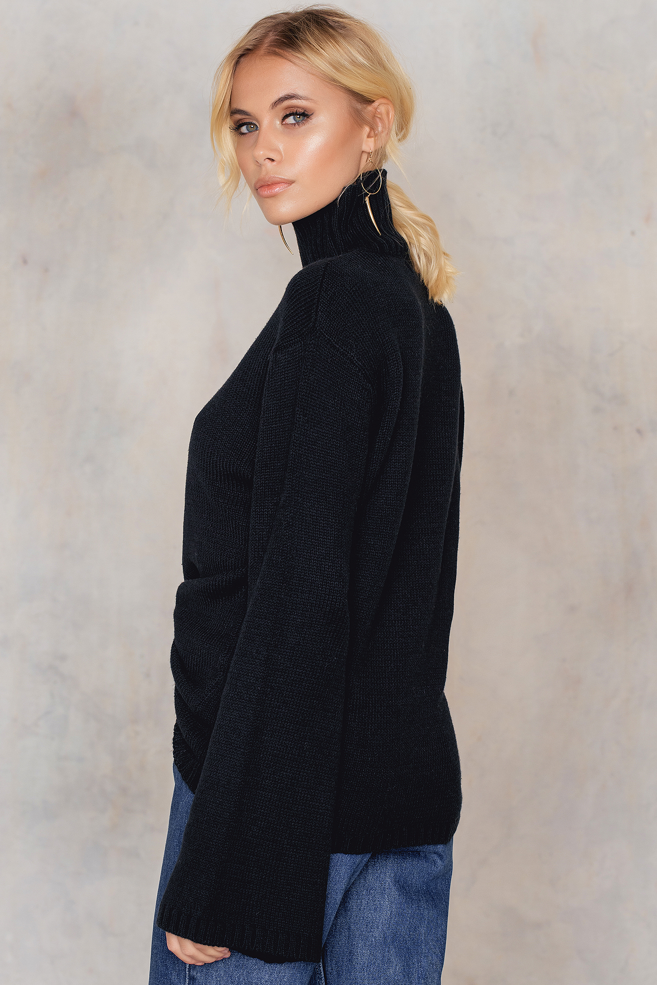Black Wide Sleeve High Neck Sweater