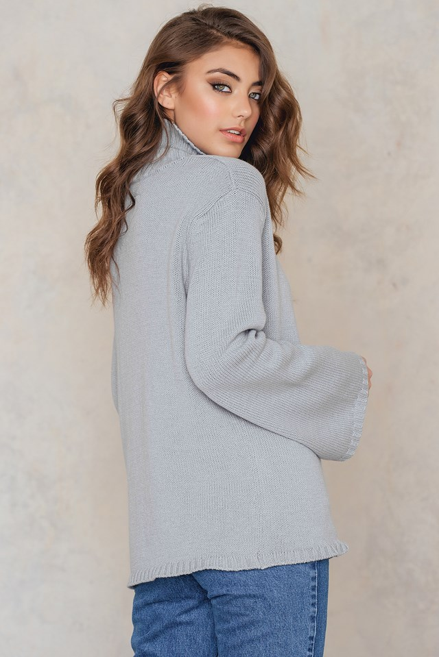 Wide Sleeve High Neck Sweater Grey