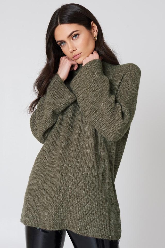 Wide Sleeve Knitted Sweater Beige