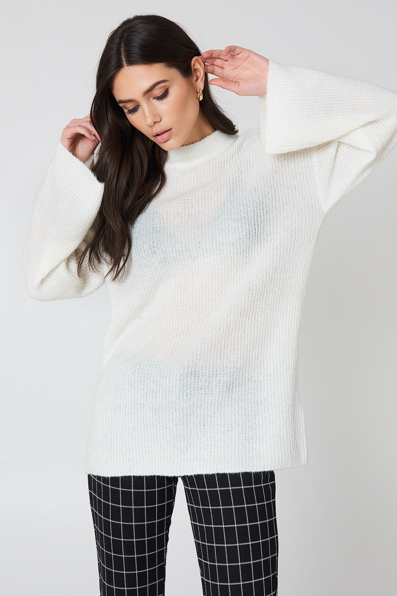 WIDE SLEEVE KNITTED SWEATER - OFFWHITE