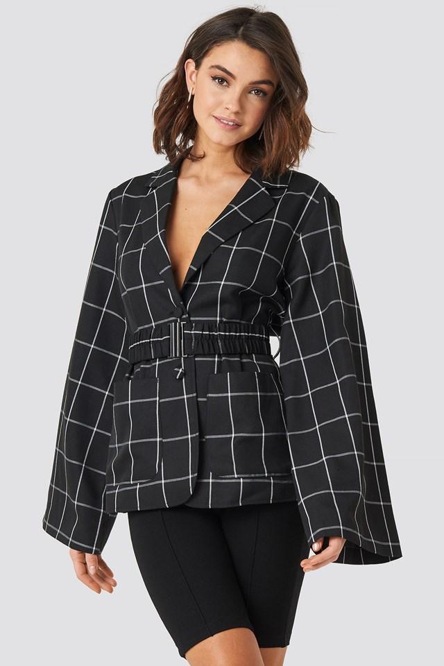 Wide Sleeve Marked Waist Blazer Black