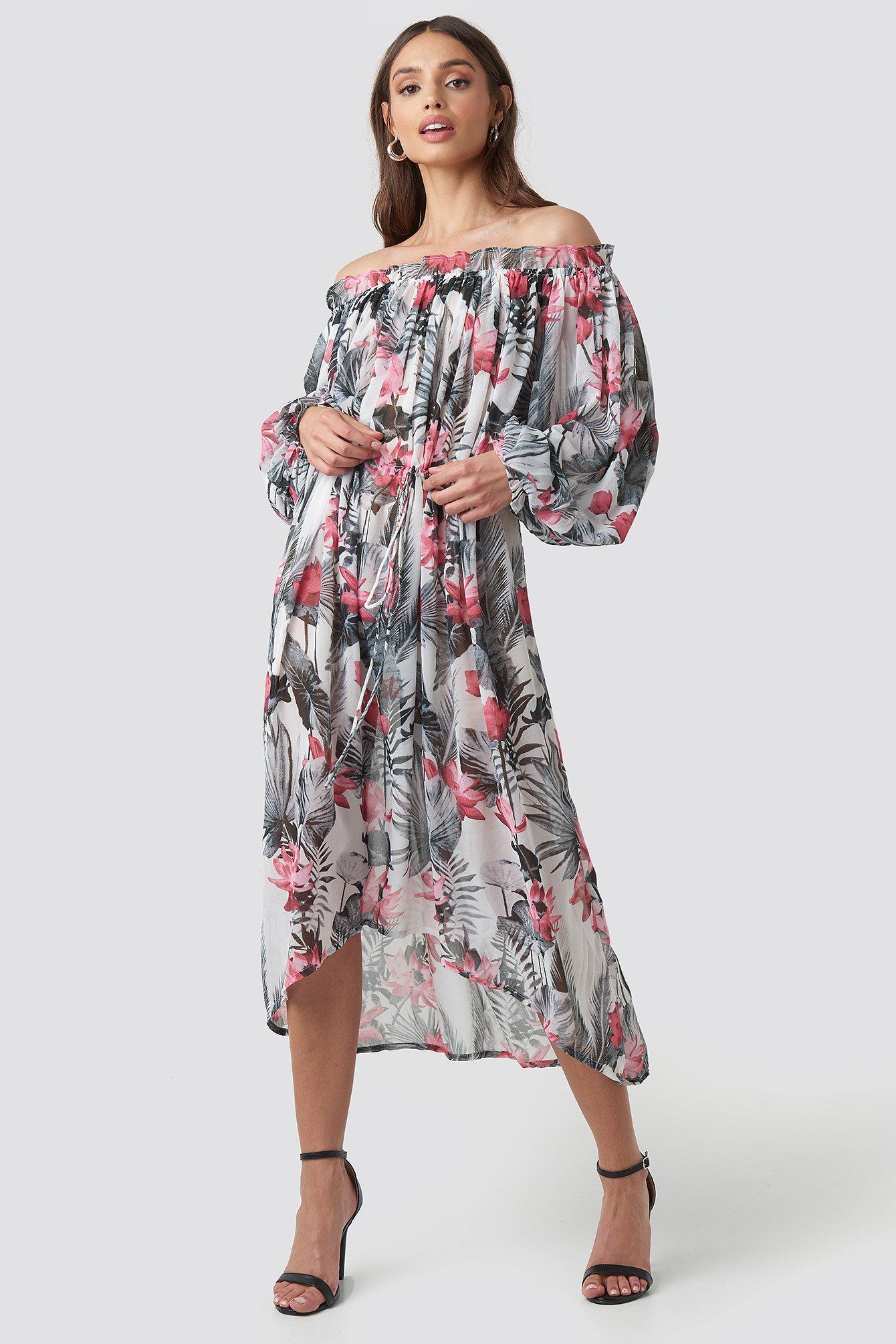 76ef53c8c3a Wide Sleeve Off Shoulder Ankle Dress Multicolor in Big Flower Print