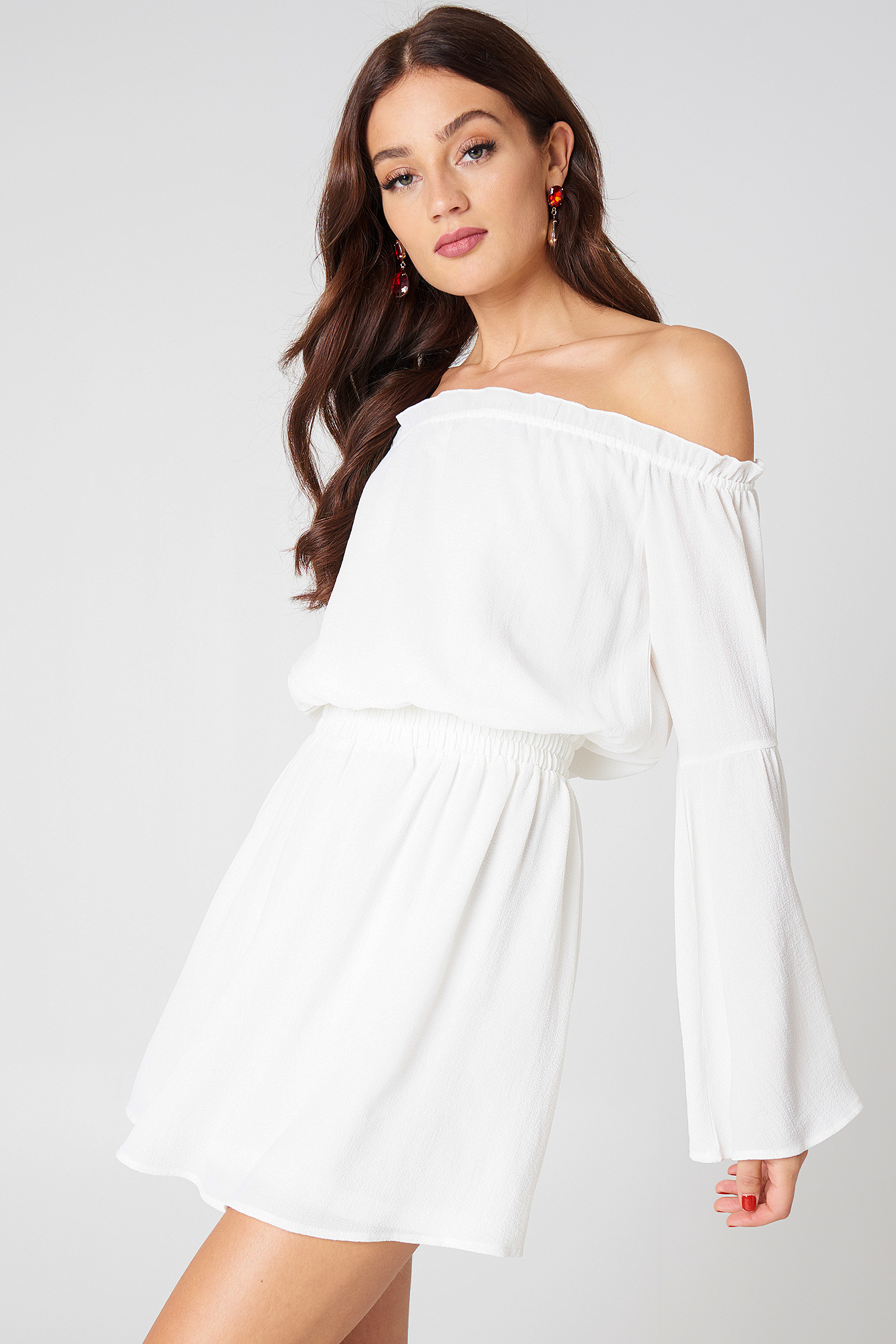 na-kd boho -  Wide Sleeve Off Shoulder Dress - White