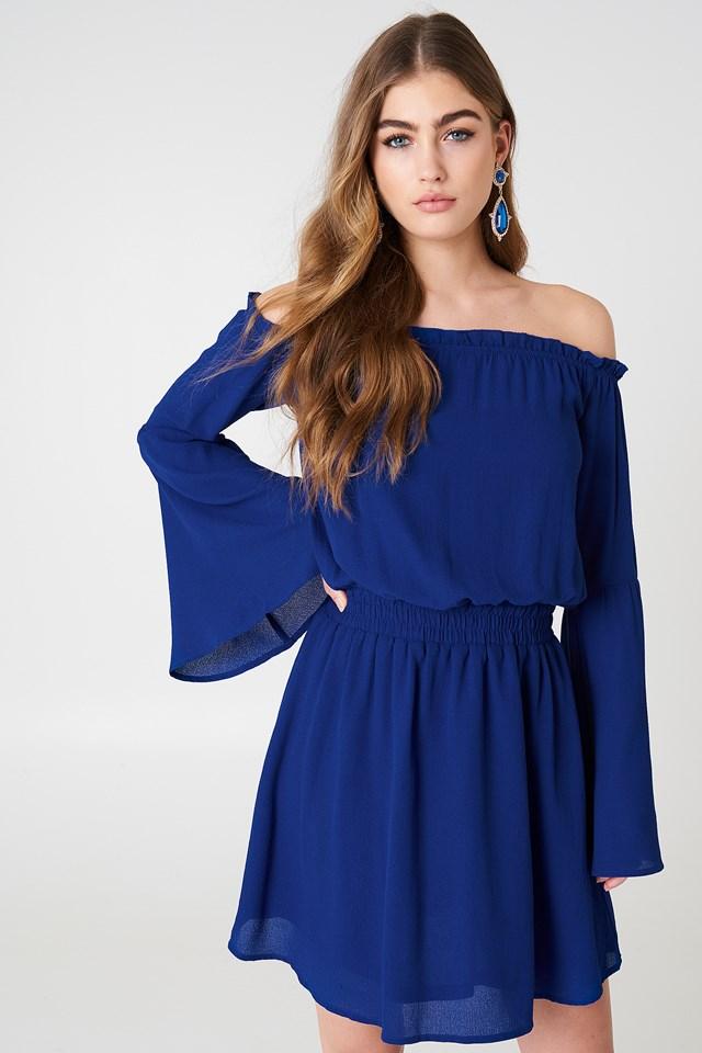 Wide Sleeve Off Shoulder Dress Dark Blue