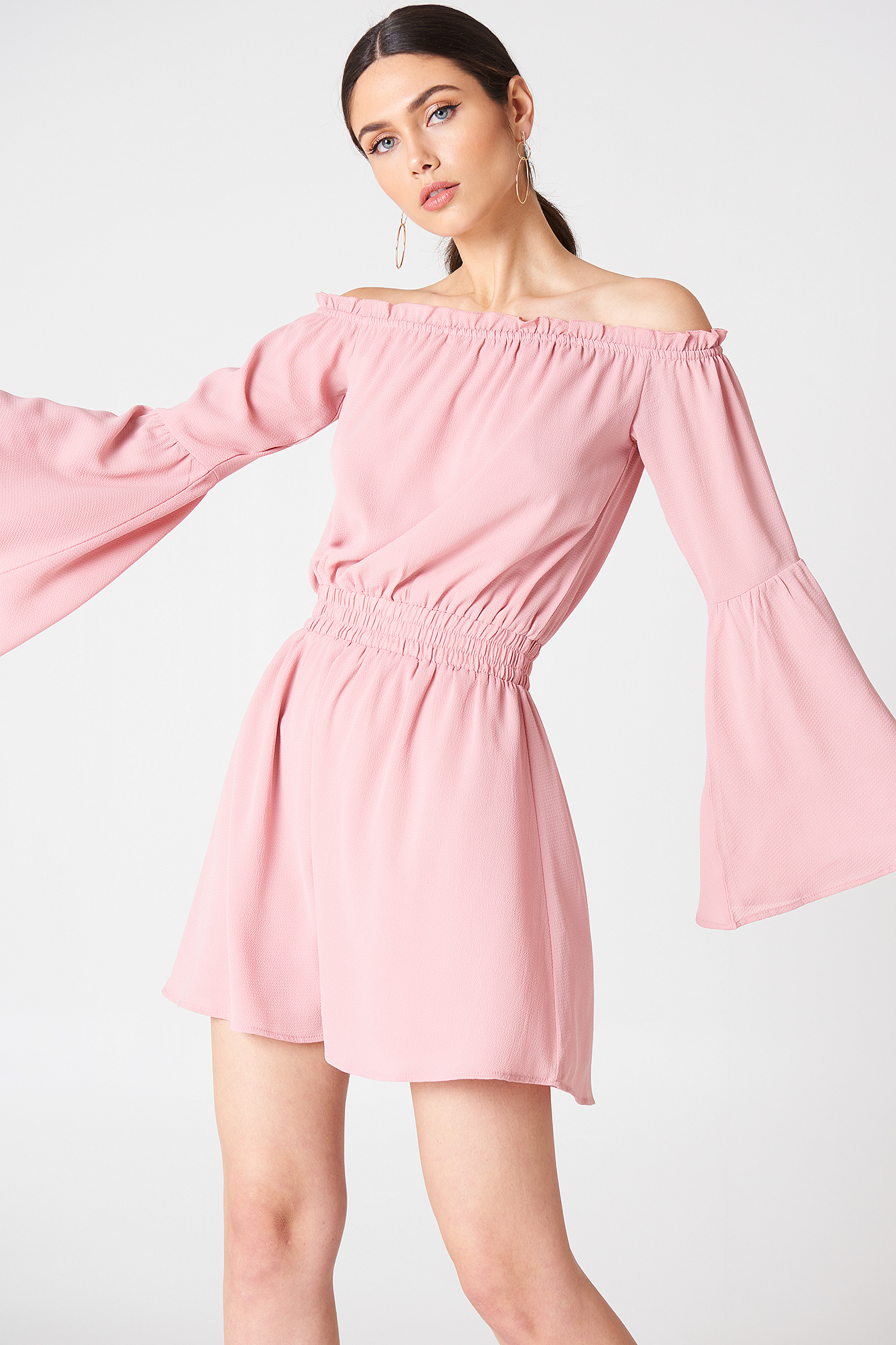 na-kd boho -  Wide Sleeve Off Shoulder Dress - Pink