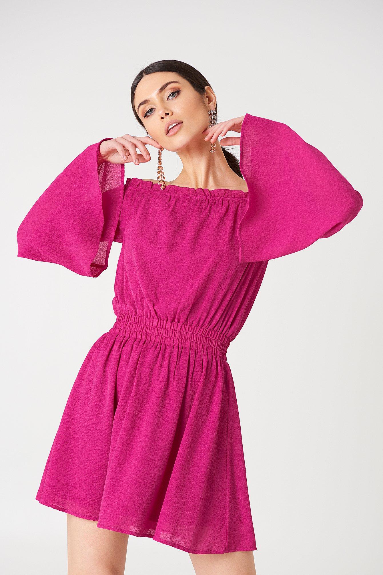 na-kd boho -  Wide Sleeve Off Shoulder Dress - Pink