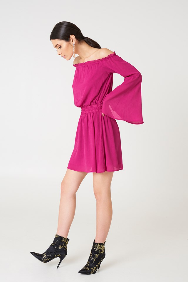 Wide Sleeve Off Shoulder Dress Magenta