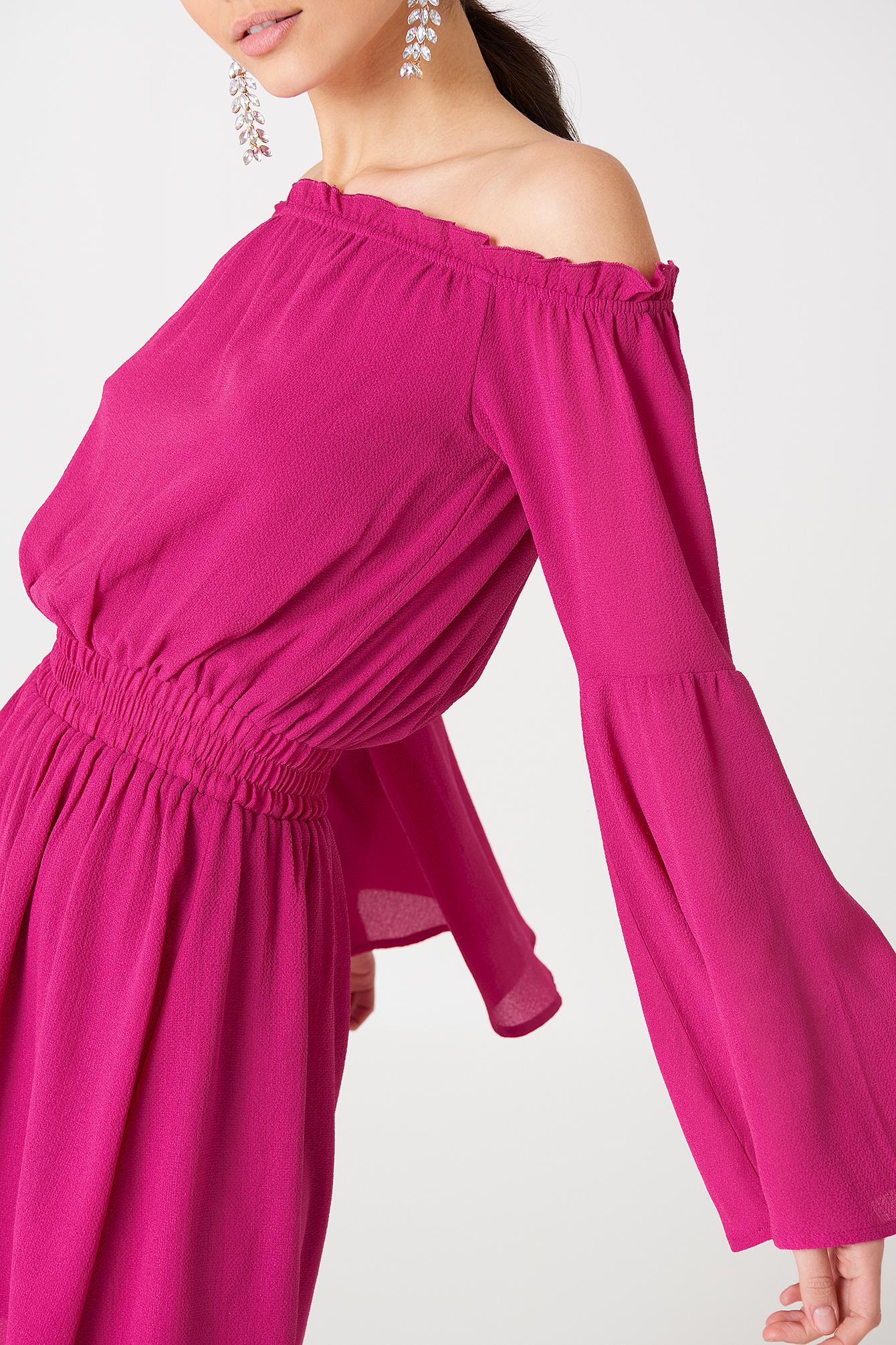 Wide Sleeve Off Shoulder Dress NA-KD.COM