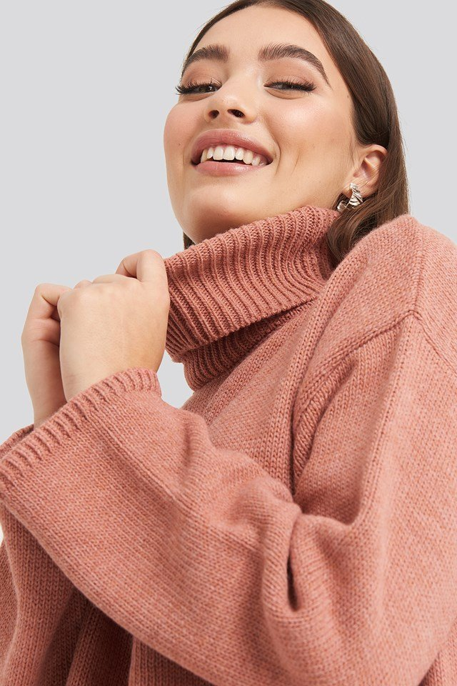 Wide Sleeve Oversized Roll Neck Sweater Burgundy