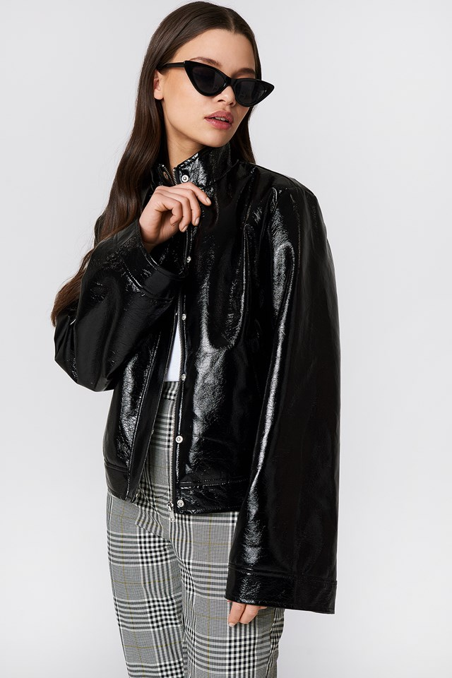 Wide Sleeve Patent Jacket NA-KD Trend