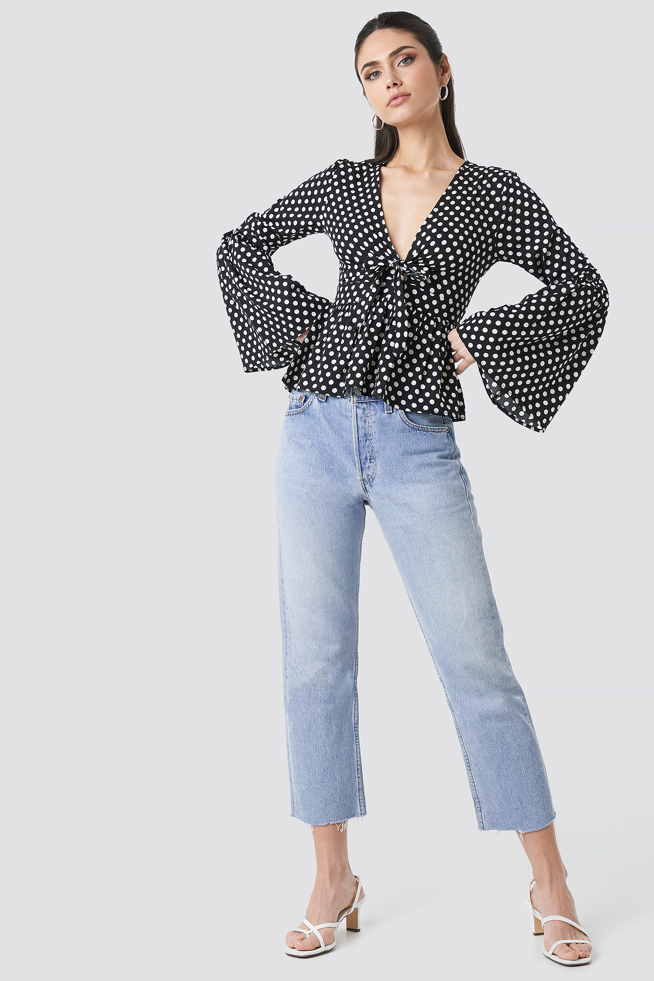 Wide Sleeve Polka Dot Blouse NA-KD.COM