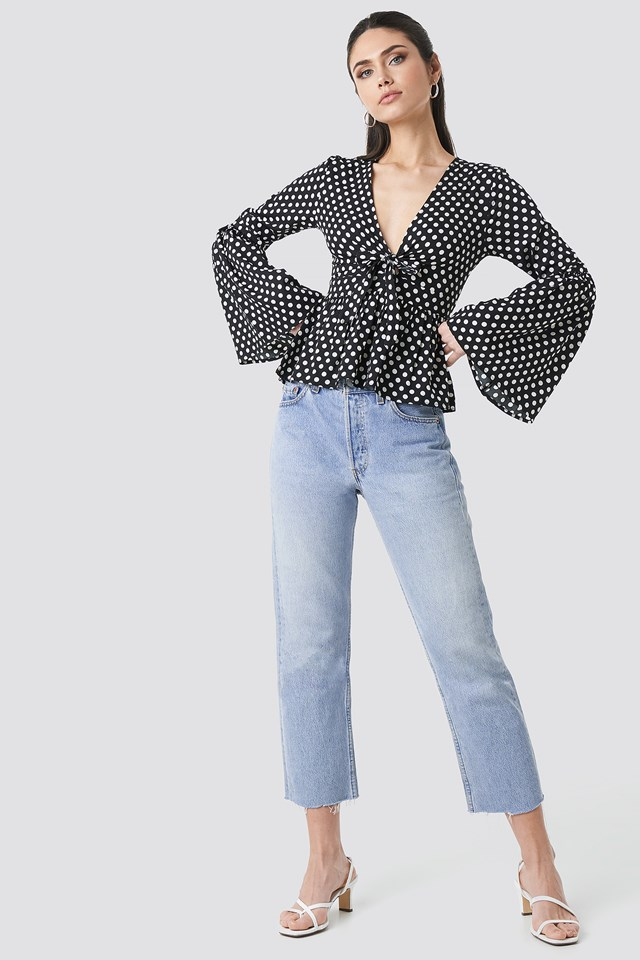 Wide Sleeve Polka Dot Blouse Black/White dots