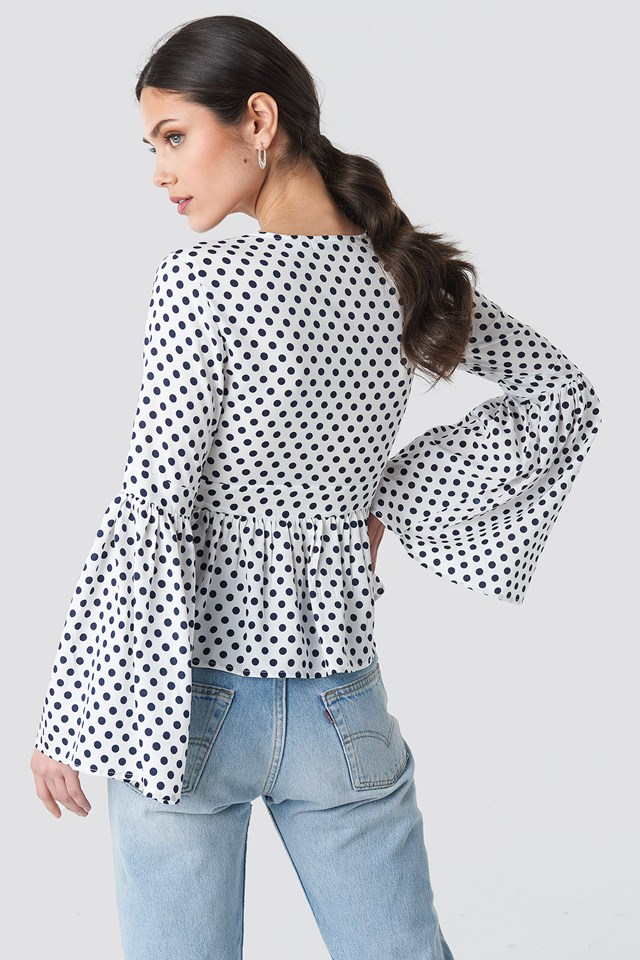 Wide Sleeve Polka Dot Blouse White/Blue Dots