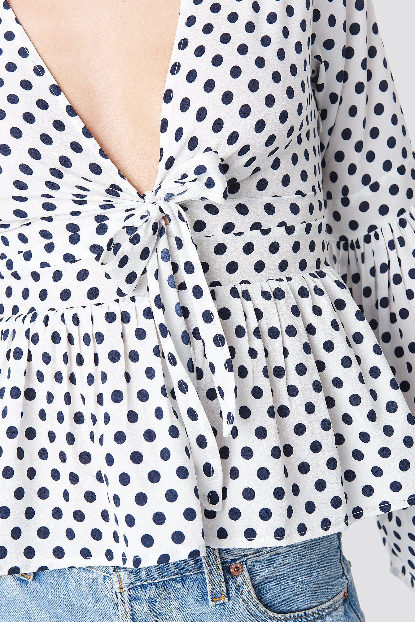 Wide Sleeve Polka Dot Blouse NA-KD.COM