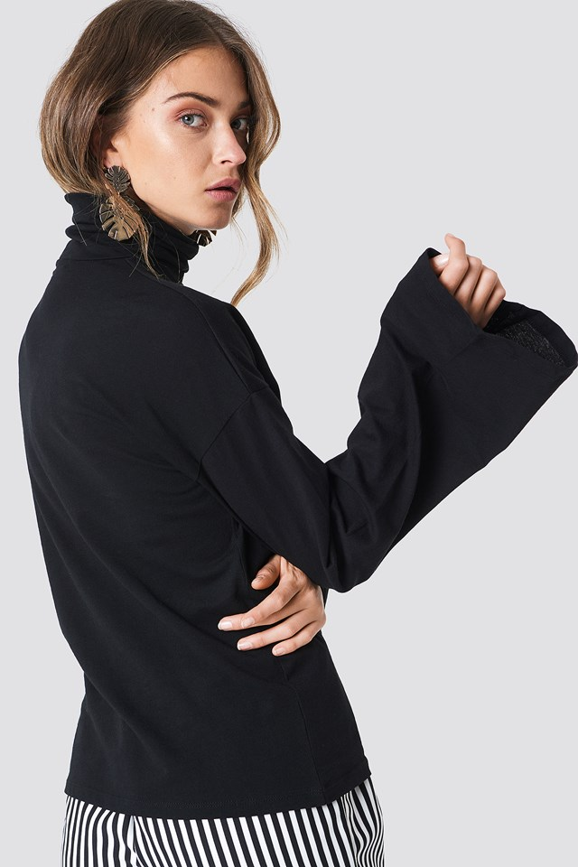 Wide Sleeve Polo Top Black