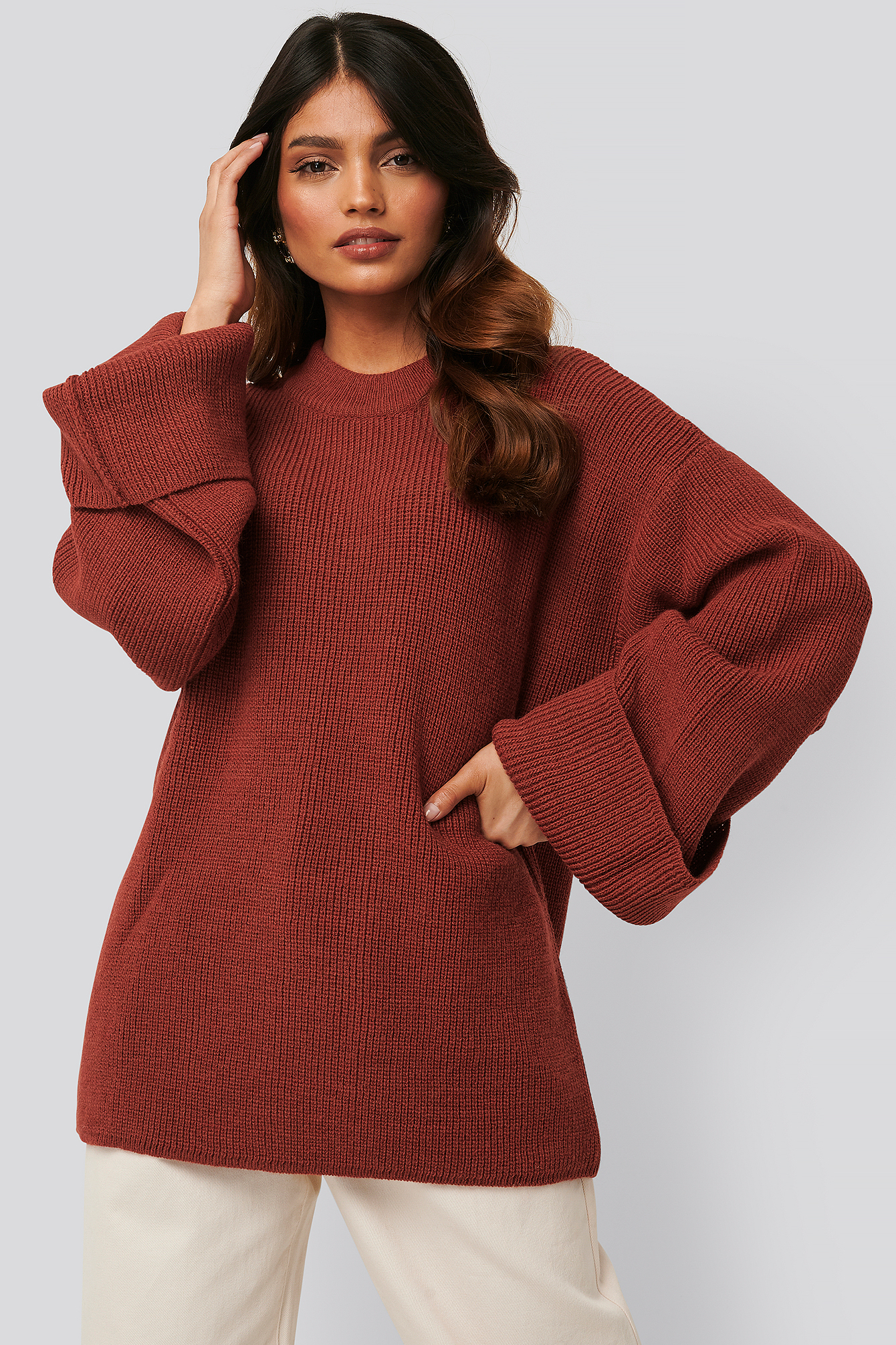 na-kd -  Wide Sleeve Round Neck Knitted Sweater - Red