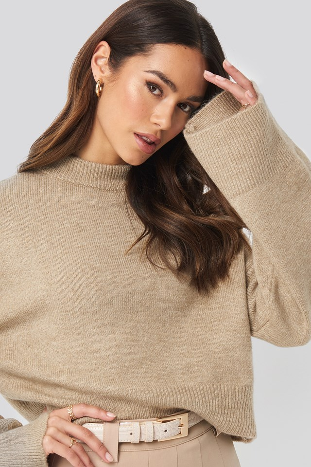 Wide Sleeve Round Neck Knitted Sweater Beige