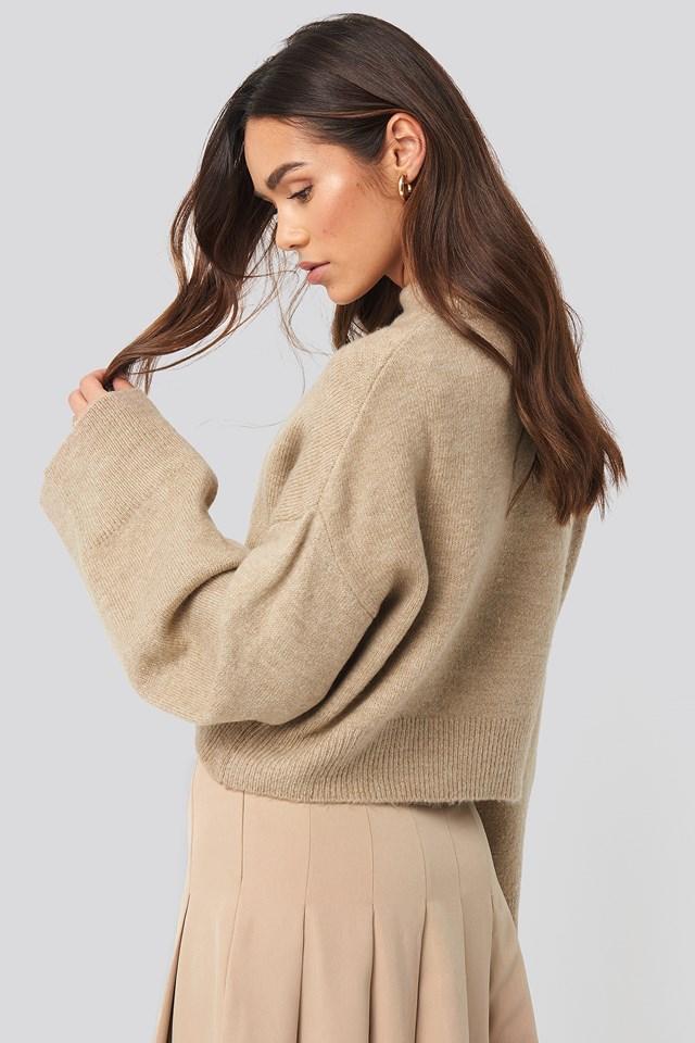 Wide Sleeve Round Neck Knitted Sweater Beige