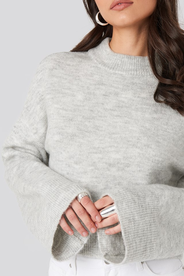 Wide Sleeve Round Neck Knitted Sweater Light Grey