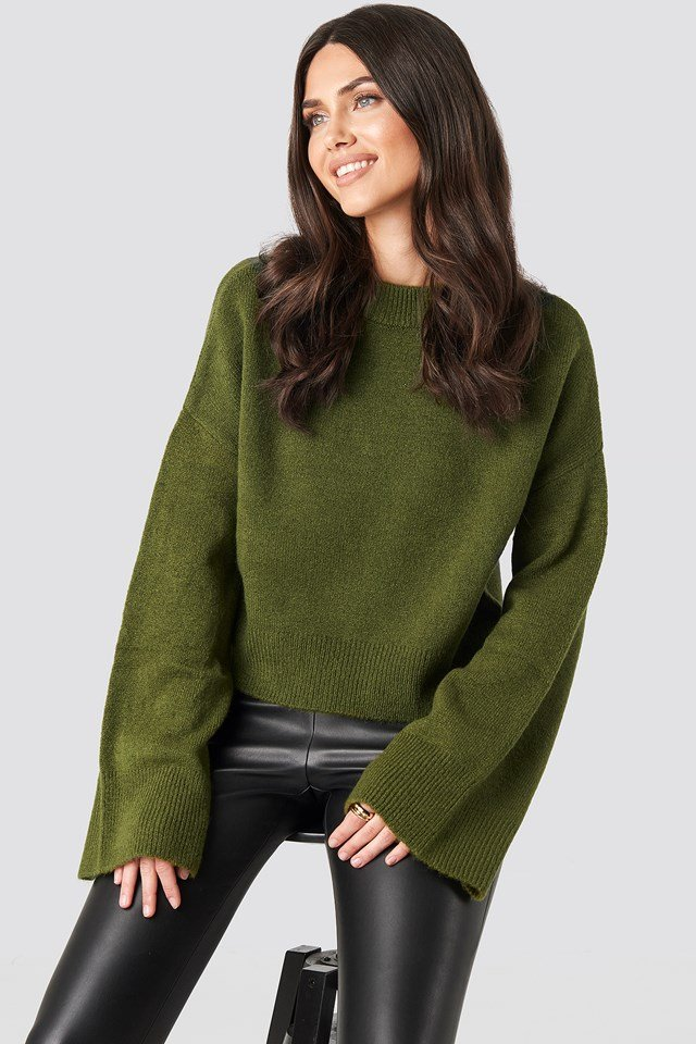 Wide Sleeve Round Neck Knitted Sweater Dark Green