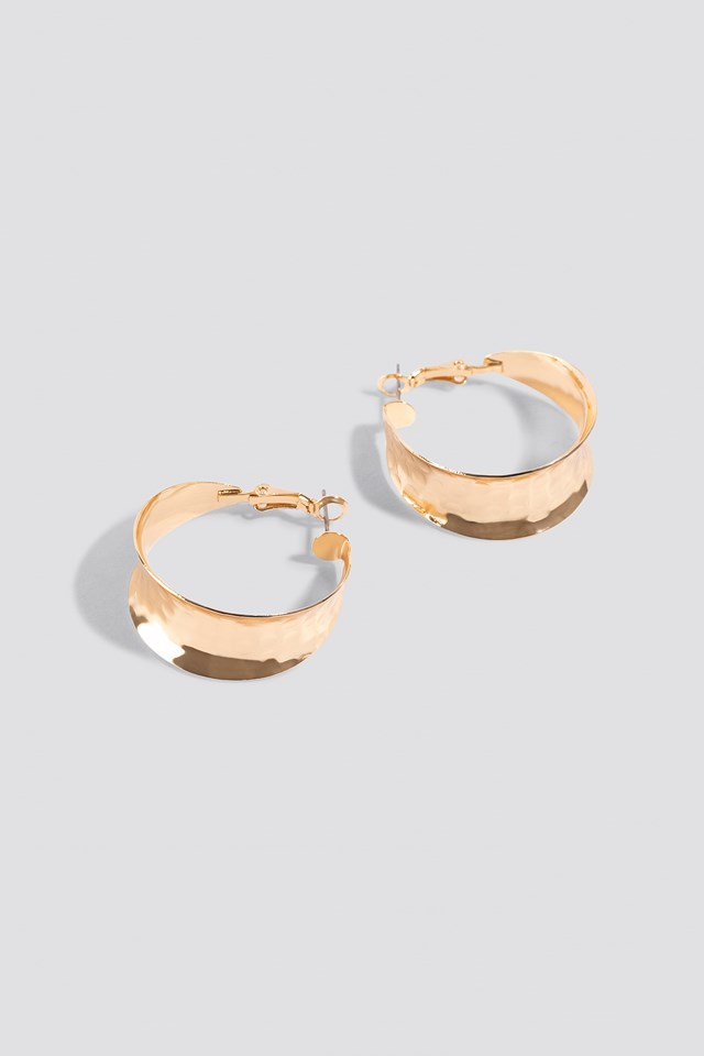 Wide Small Hoop Earrings Gold