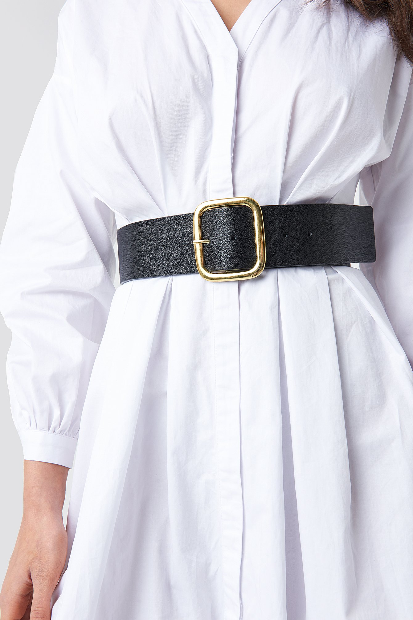Black Wide Square Buckle Belt