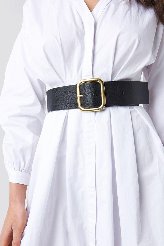 Wide Square Buckle Belt Black