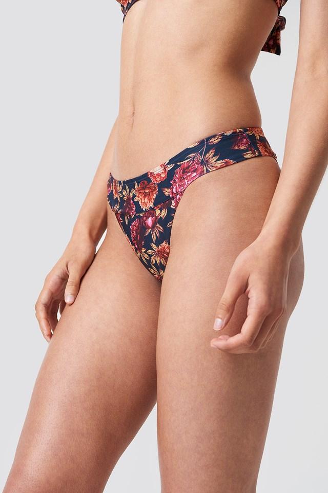 Wide Strap Bikini Panty Dark Blue/Burgundy Peonies