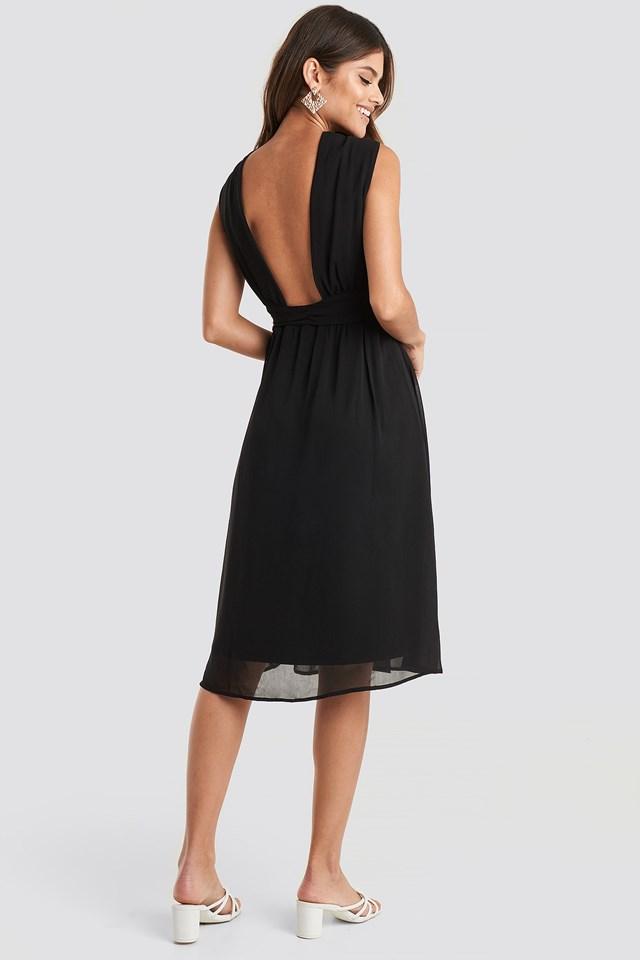 Wide Strap Halter Neck Midi Dress Black
