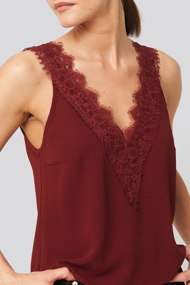 Wide Strap Lace Singlet Dark Red