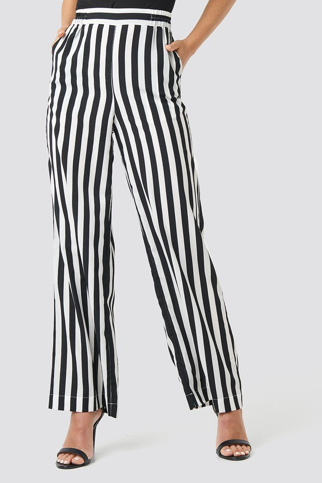Wide Striped Pants Black/White