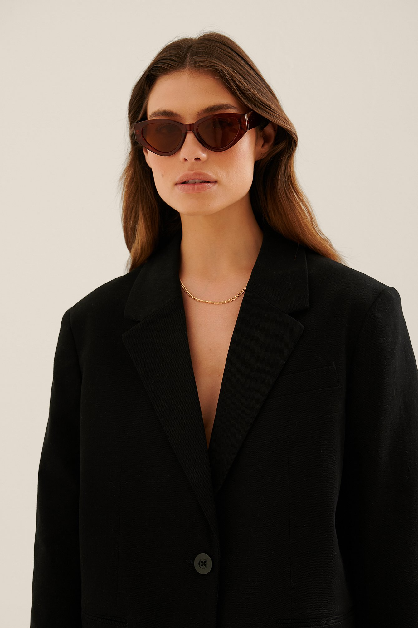 na-kd accessories -  Breite Cateye-Sonnenbrille - Brown
