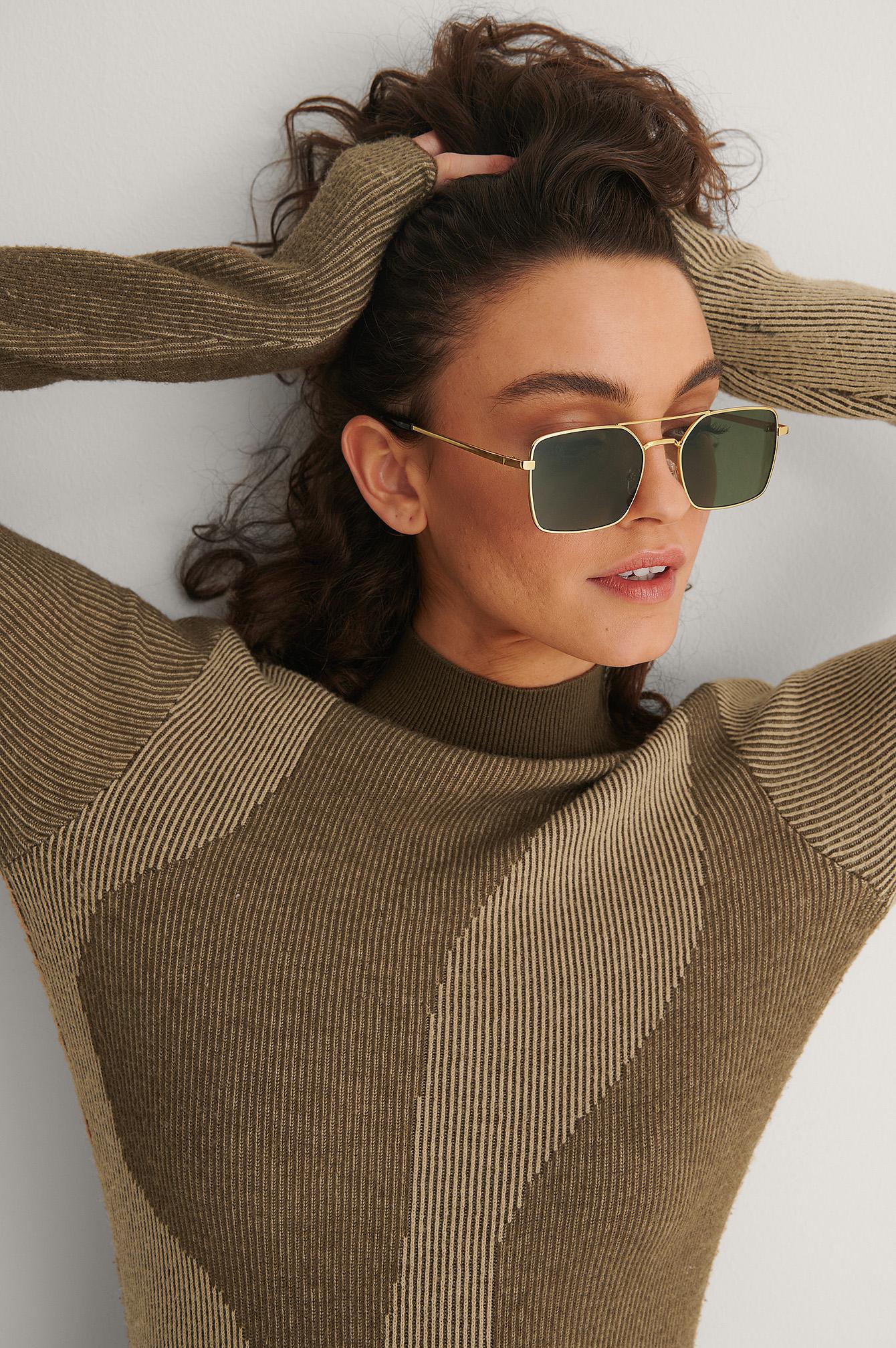 NA-KD Accessories Solbriller Med Bredt Trådstel - Green