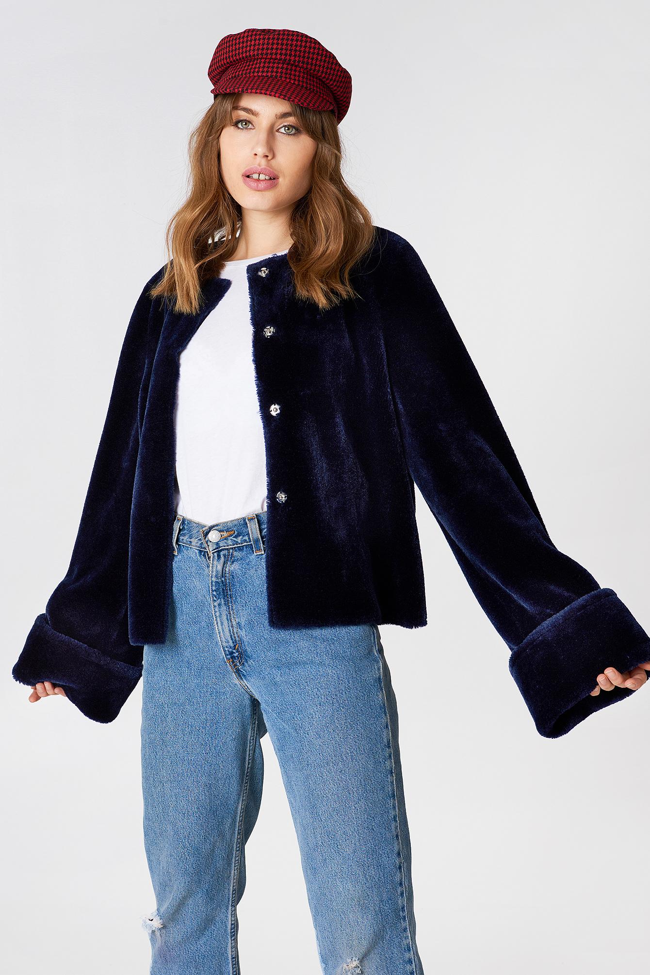 na-kd -  Wide Cuff Faux Fur Jacket - Blue
