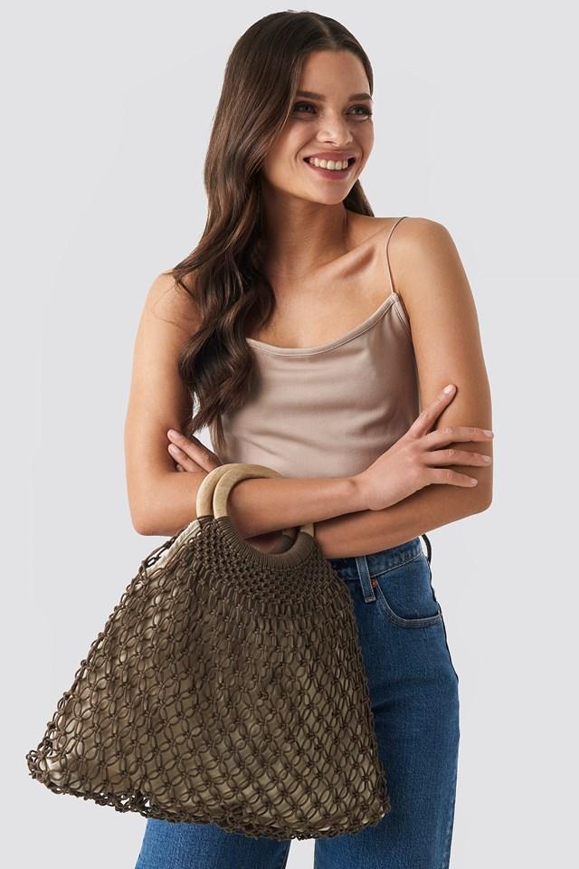 Wooden Handle Braided Bag Brown