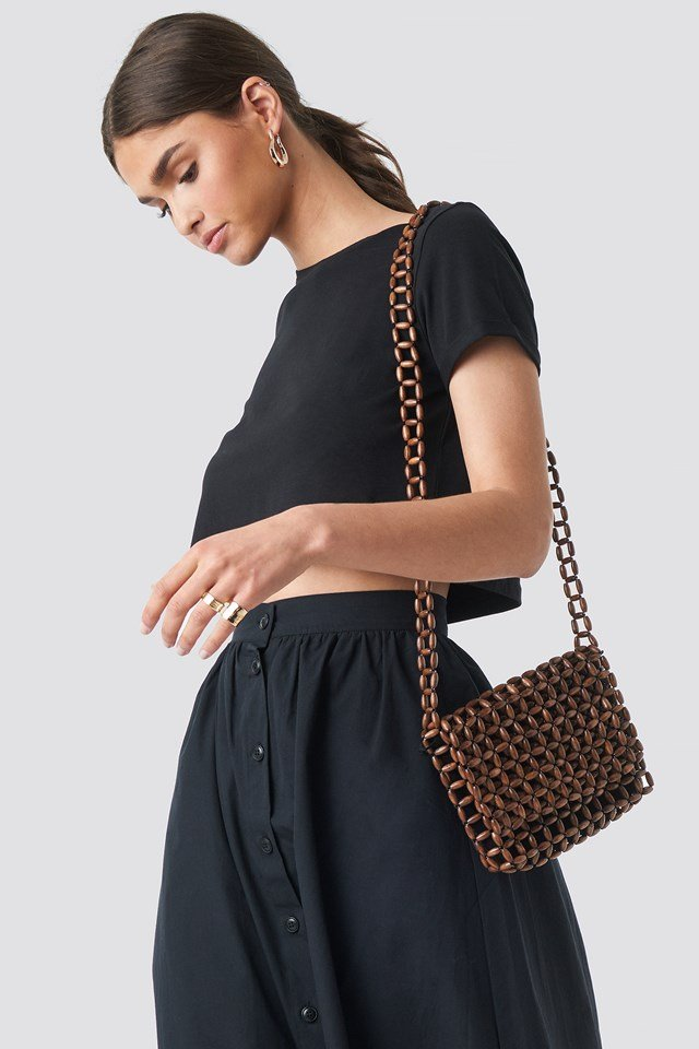 Wooden Pearl Flap Bag Brown