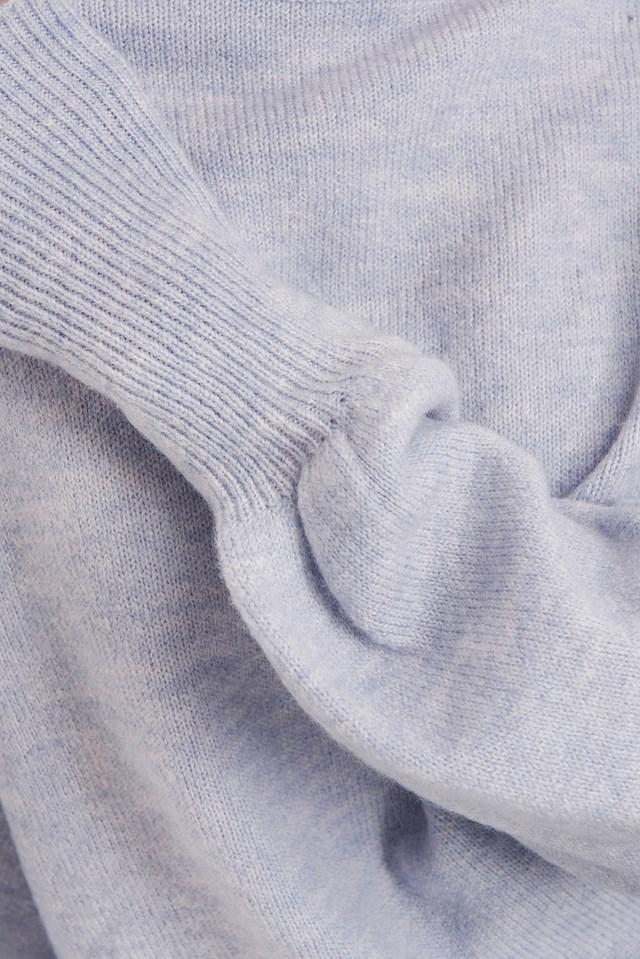 Wool Blend Balloon Sleeve Sweater Light Purple