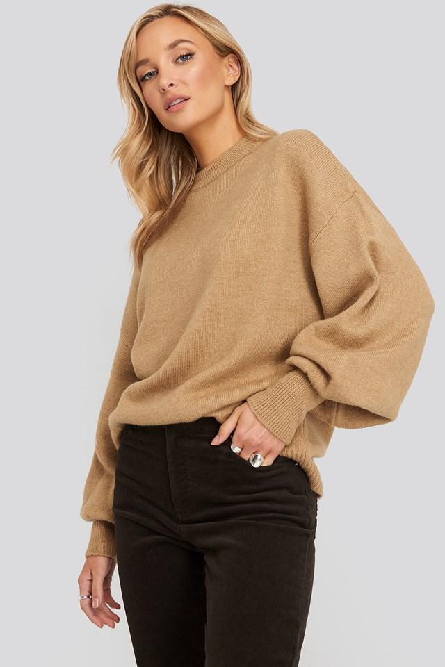 Wool Blend Balloon Sleeve Sweater Beige