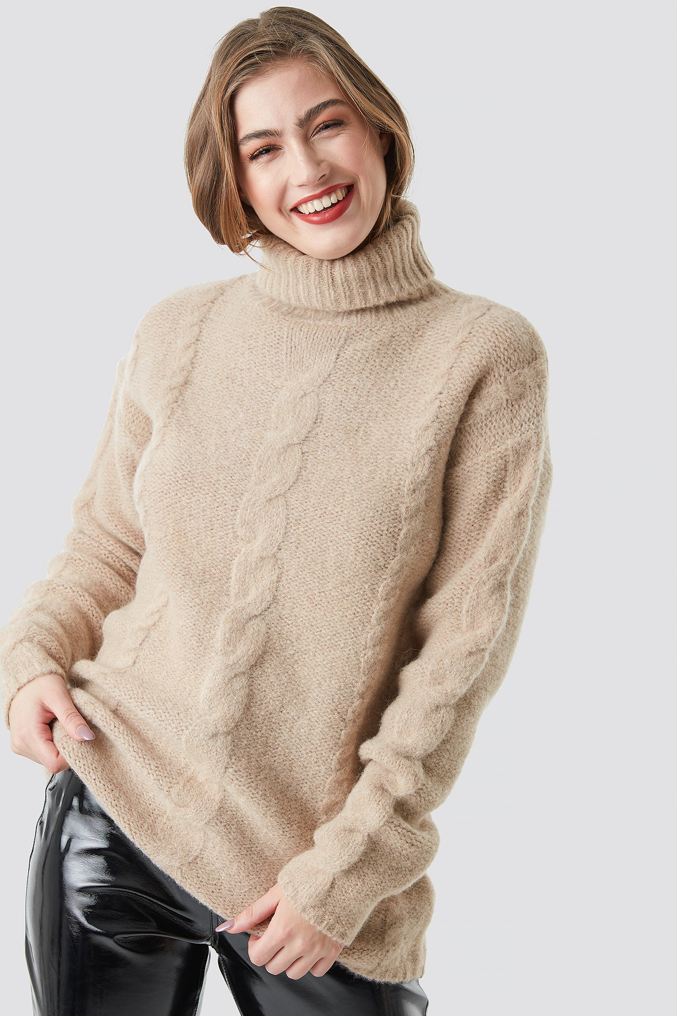 na-kd -  Wool Blend Cable Knitted Sweater - Beige